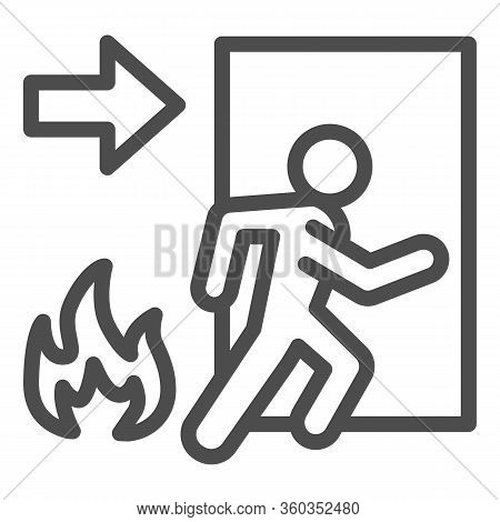 Fire Exit Line Icon. Emergency Evacuation Outline Style Pictogram On White Background. Flame And Doo