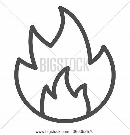 Symbol Of Fire Line Icon. Flammable Caution Sign Outline Style Pictogram On White Background. Fire O