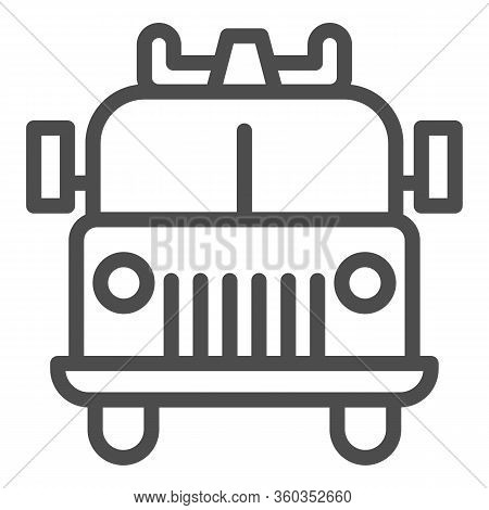 Firefighting Vehicle Line Icon. Emergency Service Fire Truck Outline Style Pictogram On White Backgr