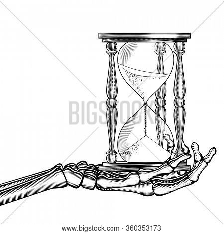 Skeleton hand with a retro hourglass. Vintage engraving stylized drawing