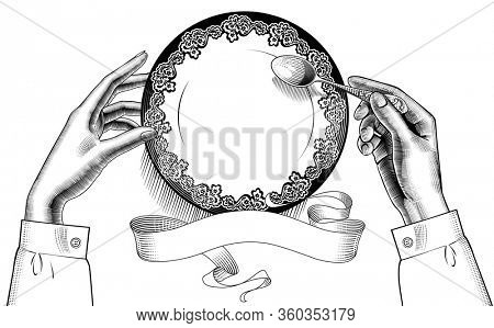 Female hands with a round plate and spoon and retro ribbon banner. Vintage stylized drawing