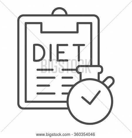 Diet Menu And Timer Thin Line Icon. Menu Plan Checklist With Clock Outline Style Pictogram On White