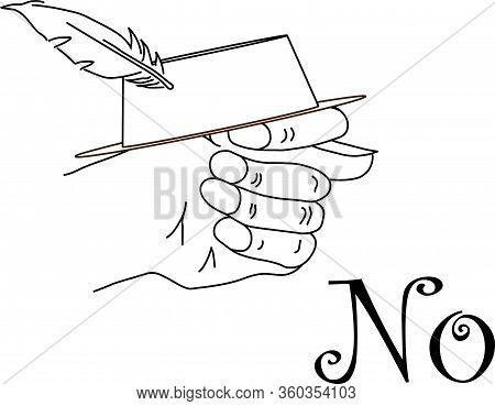 Fico Or Fig Gesture With A Hat With Feather Drawn By Means Of Black Lines On The Whait Background Wi