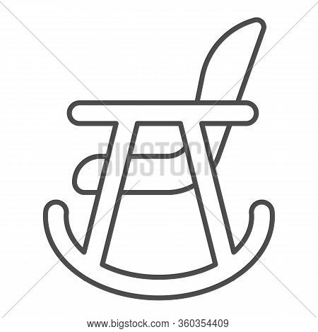 Rocker Chair Thin Line Icon. Wood Nursing Rocker Stool For Rest Outline Style Pictogram On White Bac