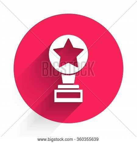 White Movie Trophy Icon Isolated With Long Shadow. Academy Award Icon. Films And Cinema Symbol. Red