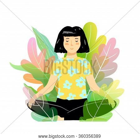 Woman Meditation And Yoga In Nature, Sitting In Lotus Pose In Bush Or Trees. Vector Illustration Nat