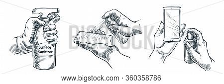 Gadget Surface Cleaning, Sanitation, Disinfection. Vector Hand Drawn Sketch Illustration. People Tre