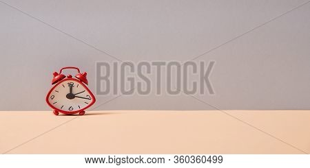 Time Passing, Time-limit. Business Deadline. Countdown And Urgency. Stopwatch Productivity. Red Alar
