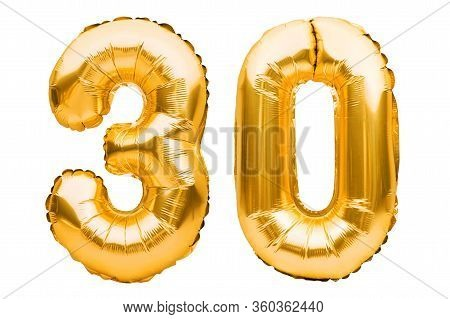 Number 30 Thirty Made Of Golden Inflatable Balloons Isolated On White. Helium Balloons, Gold Foil Nu