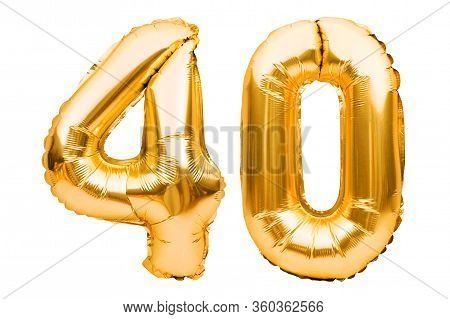 Number 40 Forty Made Of Golden Inflatable Balloons Isolated On White. Helium Balloons, Gold Foil Num