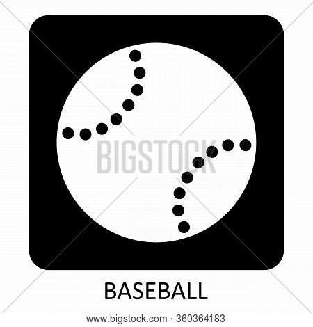 Baseball Icon Illustration On Dark Background With Label