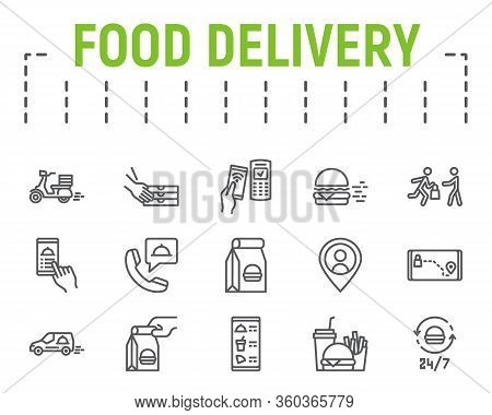 Food Delivery Line Icon Set, Fast Food Symbols Collection, Vector Sketches, Logo Illustrations, Food