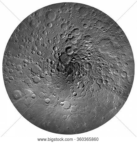 Full Moon View To The Moon's North Pole, Isolated On White Background. Elements Of This Image Furnis