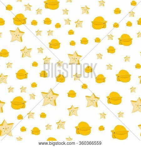 Illustration On Theme Big Colored Seamless Carambola, Bright Fruit Pattern For Seal. Fruit Pattern C