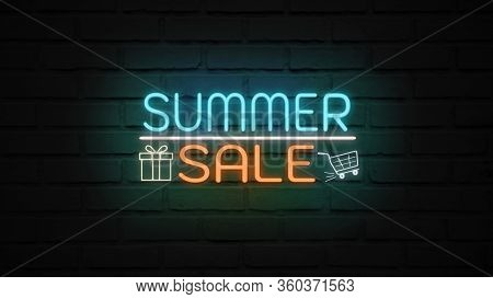 Summer Sale Neon Light On Wall. Sale Banner Blinking Neon Sign Style For Promo Video. Concept Of Sal