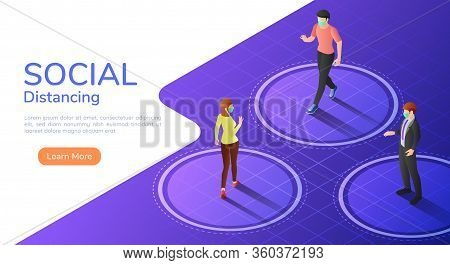 3d Isometric Web Banner People Keep Distance Between Each Other To Avoid Spreading Covid-19 Virus. S