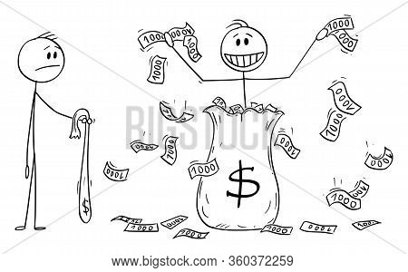 Vector Cartoon Stick Figure Drawing Conceptual Illustration Of Man, Politician Or Businessman Throwi