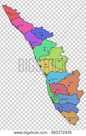 Kerala Map With All The 14 Districts Highlighted In Different Colours. Names Of The Respective Distr
