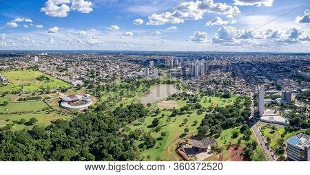 Panoramic Aerial View Of The City Of Campo Grande Ms, Brazil And The Park Of The Indigenous Nations.