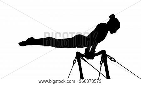 Girl Gymnast Exercise On Uneven Bars Gymnastics. Black Silhouette