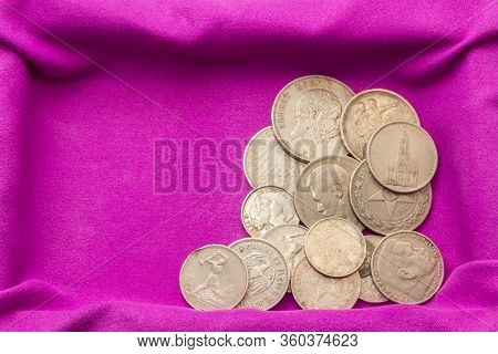 Twentieth-century Silver Coins On A Purple Velvet Napkin In A Casket, Close-up, Collectible Coins, S