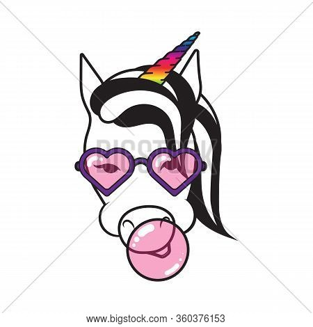 Unicorn With Bubble Gum. Funny Unicorn With Rainbow Horn And With A Pink Bubble Gum. Crazy Unicorn.