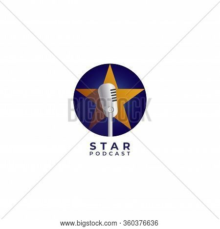 Podcast Or Stand Up Comedy Logo Design Template. Retro Microphone Illustration With Yellow Star And