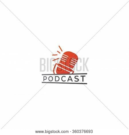 Minimal Podcast Logo Design Template. Floating Orange Retro Microphone Illustration Isolated On Whit