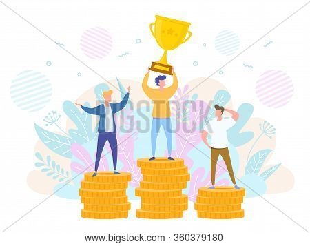 Concept Of Victory Success And Rivalry. People On Podium Hold The Winner Cup. Vector