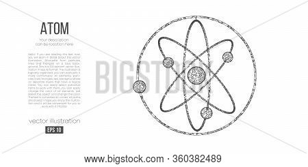 Abstract Silhouette Of The Polygonal Atoms On White Background. Scanning, Research, Study Atoms Of T