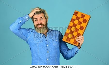 Exercise For Brain. Chess Figures. Intellectual Games. Intelligent Bearded Hipster. Cognitive Skills
