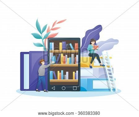 Online Library Concept. Online Mobile Library Concept. E-book 3d Illustration With Small People. Lib