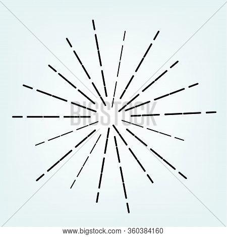 Vintage Radial Line Sunburst Graphic. Retro Black Burst Logo Art. Abstract Sunshine Vintage Frame. S