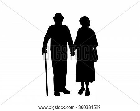 Silhouettes Of Grandparents Holding Hands. Illustration Graphics Icon