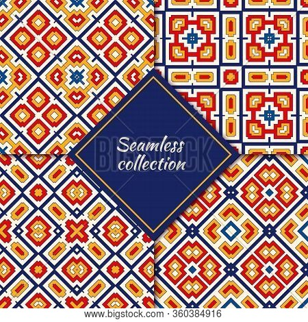 Bright Ethnic Seamless Pattern Collection. Folk, Tribal Design Backgrounds Set. Oriental Mosaic Tile