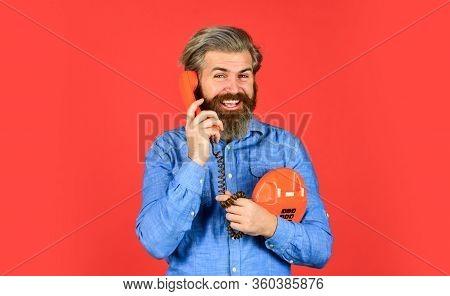 Build An Audience. Buy New Gadget. Phone Business Concept. Businessman Touts Retro Phone. Retro Cust