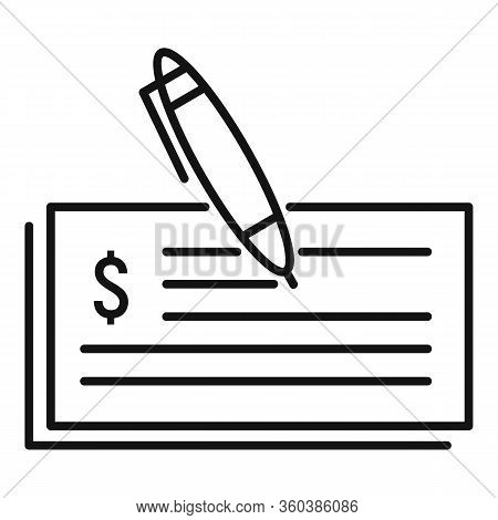 Billing Money Paper Icon. Outline Billing Money Paper Vector Icon For Web Design Isolated On White B