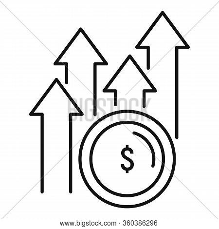 Grow Up Money Startup Icon. Outline Grow Up Money Startup Vector Icon For Web Design Isolated On Whi