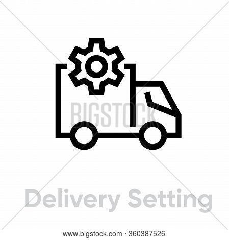 Delivery Setting Truck Icon. Editable Line Vector.