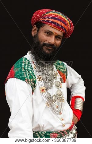 Bikaner, India - January 12, 2020: Rajasthani Handsome Man In Traditional Clothes With Beard And Lon