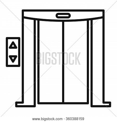 Door Elevator Icon. Outline Door Elevator Vector Icon For Web Design Isolated On White Background