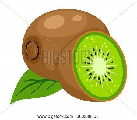 Vector Illustration Of Whole Kiwi Fruit, Leaf And A Kiwi Fruit Cut Isolated On White Background. Ico