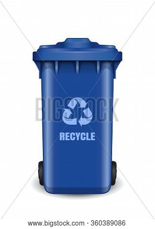 Blue Dumpster. Garbage Can With Waste Recycling Symbol. Recycling Wheelie Bin With Recycle Arrow Sym