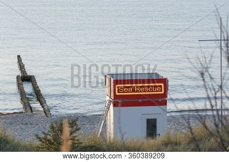 Bay Watchtower On The Beach At High Tide In Front Of A Blue Sky Near Zingst On The Baltic Sea, The L