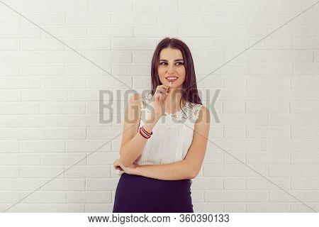 Closeup Portrait Charming Smiling Joyful Happy Young Woman Looking Upwards Daydreaming Something Nic
