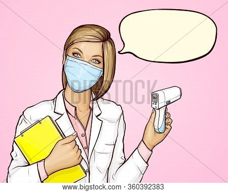 Doctor In Protective Medical Mask With A Non-contact Digital Infrared Body Thermometer And Yellow Bo