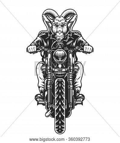 Animal Motorcyclist Vintage Concept With Angry Goat Head Biker Riding Motorcycle Isolated Vector Ill