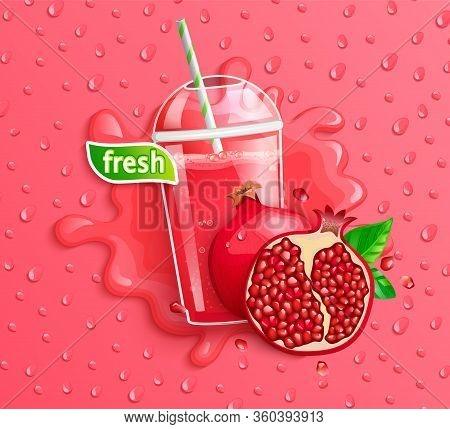 Fresh Pomegranate Juice To Go Banner With Apteitic Drops From Condensation, Fruit Slice On Gradient