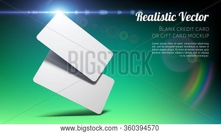 Brand Identity Concept. Blank Credit, Gift Or Business Card Mockup On Green - Blue. Layered Template