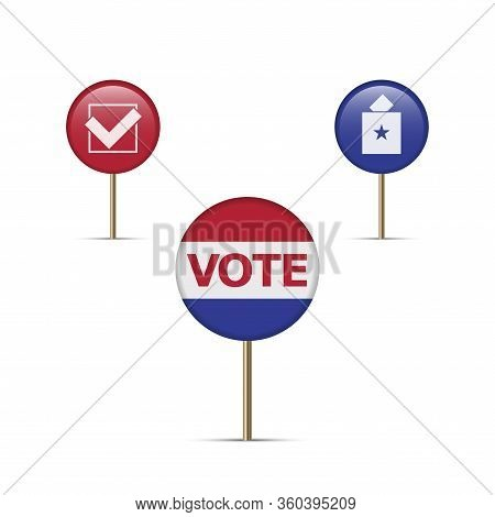 Vote Here, Voting Map Pins, Location Markers. Polling Place. The Us Presidential Election 2020. Amer